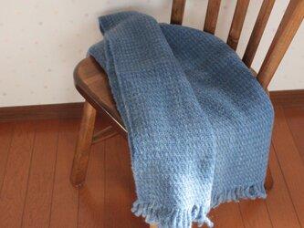 【手紡ぎ・手織り】ウール ショール 水面の画像