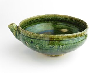 織部 線彫り文片口鉢の画像