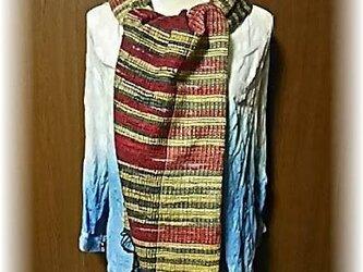 M19-売り切れ・白桃の草木染の裂き織りマフラーの画像