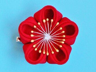 卒業式 Big!! インパクトな ぽてっと梅の花♡ 直径約6.5センチ!【受注制作】つまみ細工  かんざし浴衣 着物の画像