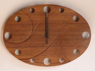 無垢の木の電波掛け時計 チーク 0021の画像