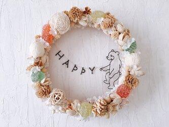 食いしんぼうこぐまグミキャンディ HAPPY リースの画像