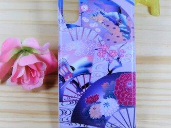 スマホハードケース 和柄 扇と菊の画像