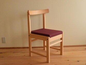 ヒノキの椅子 座面の帆布 ワイン色の画像