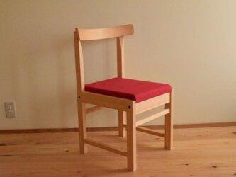 ヒノキの椅子 座面の帆布 濃赤色の画像