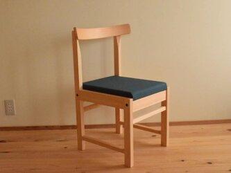 ヒノキの椅子 座面の帆布 濃グリーン色の画像