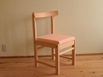 ヒノキの椅子 座面の帆布 ピンク色の画像