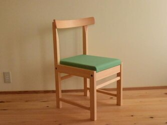 ヒノキの椅子 座面の帆布 グリーン色の画像