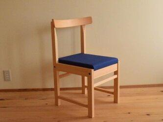 ヒノキの椅子 座面の帆布 花紺色の画像