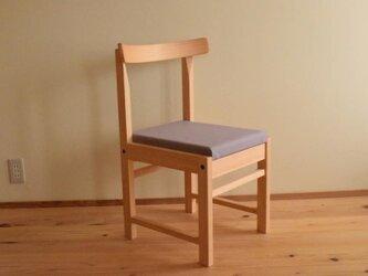 ヒノキの椅子 座面の帆布 薄ムラサキ色の画像
