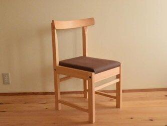 ヒノキの椅子 座面の帆布 焦茶色の画像