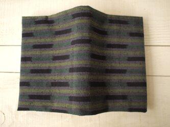 久留米紬から文庫本カバー(裏赤系) ブックカバーの画像