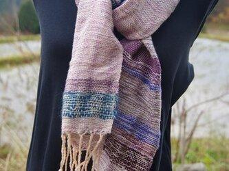 手織り コットンウールのマフラー パープルの画像