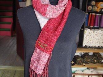 手織り ウールのマフラー 1212bの画像