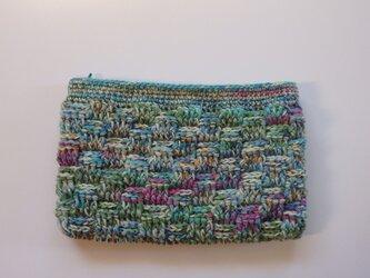 毛糸のフラットポーチの画像