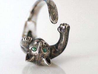 猫リング レオ(エメラルドの瞳)の画像