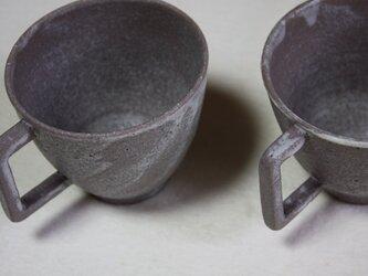 四角の持ち手のつや消しカップ2の画像