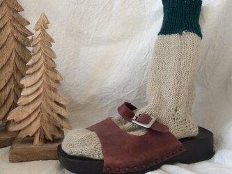 手編みの靴下 ベージュ・モスグリーンの画像