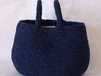 裂き編みバッグ 横長サイズ 【取り外し可】フェイクファー付きの画像