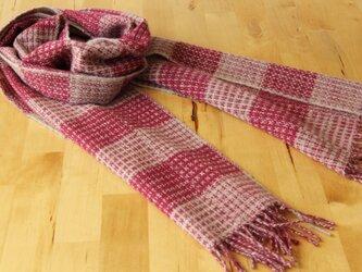 ホームスパン・カシミヤマフラー 綾模様織・ピンクの画像