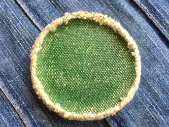 6.5cm 帆布ブローチ green グリーン の画像