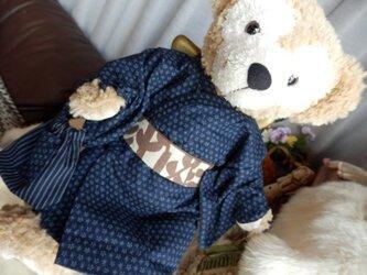 ダッフィー(S)用 着物と信玄袋 (紺地 細かい柄)の画像