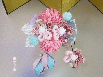 着物 髪飾り 成人式 卒業式 青ピンク系 和 振袖 ヘアアクセサリー ちりめん紐花の画像
