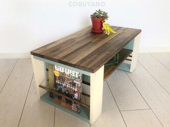 マガジンラック木製ローテーブル《cream》の画像