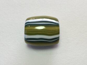 とんぼ玉*しましま模様の帯留*緑×深緑×黄色×白の画像