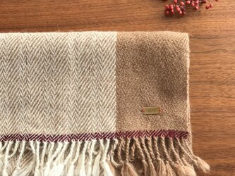 ベビーアルパカの手織マフラー(紫ライン)の画像