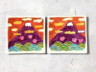 富士山と波千鳥(オレンジ色の空)・スクエアプレート(15cm)の画像