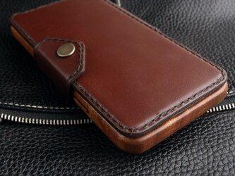 【受注生産】木と革で作った iPhone X  専用木製ケース ブックタイプの画像