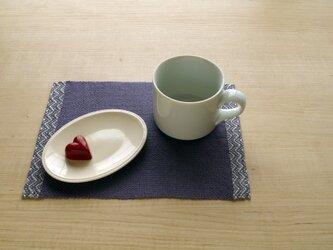 手織りリネン ティーマット ブルーの画像