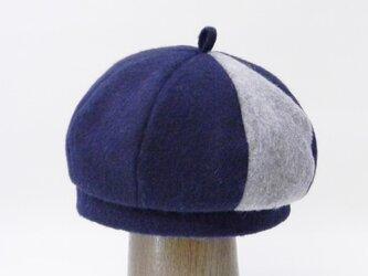 ほっこり起毛した8枚はぎのコンビのベレー帽(PL1712-Navy)の画像