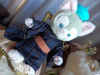 ジェラトーニ用 着物と信玄袋 (紺地 ストライプ柄)の画像