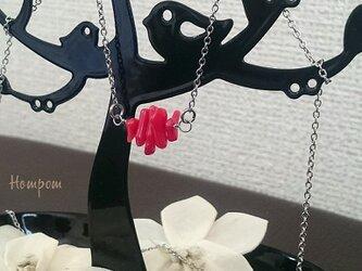 18n002・真っ赤な珊瑚のステンレスネックレス② ホムポムの画像