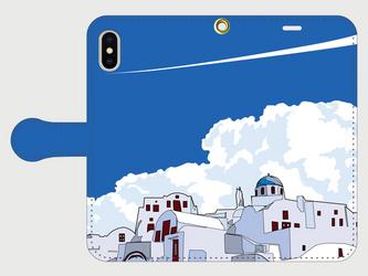 サントリーニ島のイラスト・スマホケース(手帳型)iPhone&Android各機種対応! 青空のサントリーニ島♪ の画像