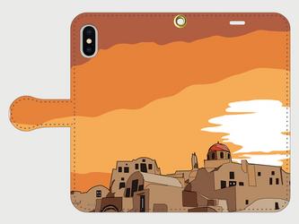 サントリーニ島のイラスト・スマホケース(手帳型)iPhone&Android各機種対応! 夕焼けのサントリーニ島♪ の画像