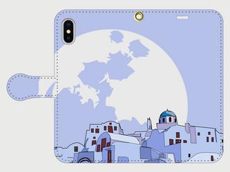 サントリーニ島のイラスト・スマホケース(手帳型)iPhone&Android各機種対応! 月夜のサントリーニ島♪ の画像
