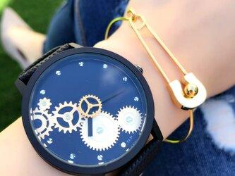 ユニセックス セコンドギア腕時計 ブラック<q-005>の画像