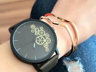 ユニセックス ギアダイヤル腕時計 ディープグリーン<q-013>の画像