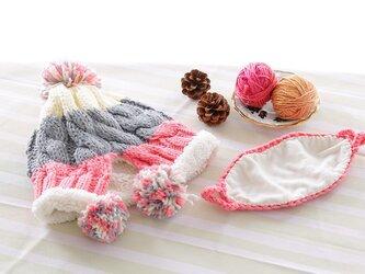 【Lady's】ほっこりあたたか冬帽子+マスク付き NO:01の画像
