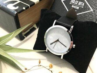 クリエイティブデザイン*隠し文字盤腕時計 white×black <g-016>の画像