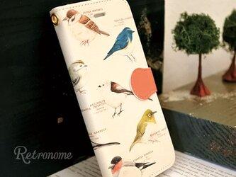 野鳥柄スマホケース手帳型の画像