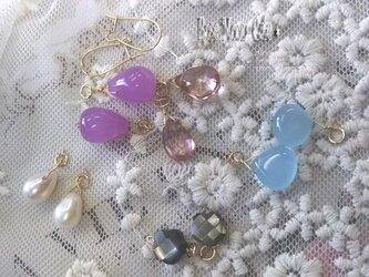 天然石チャームセット☆黒蝶貝フラワーピンクカラークォーツブルージェードの画像