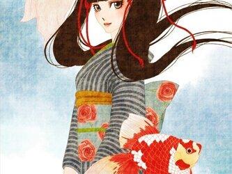 大正ロマン風ポストカード『金魚』の画像