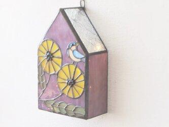 黄色い花に鳥 壁掛けランプの画像