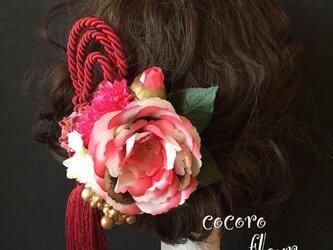 椿マーブル髪飾り タッセル付きの画像