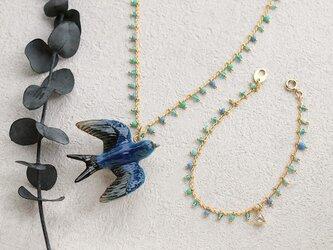 ツバメのブルーmixネックレス&ブレスレットの画像