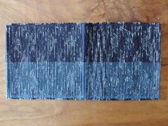 青色 two tone 木綿 裂き織ティーマットの画像